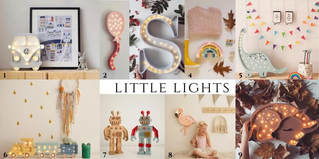 Dodatki do wnętrz polskich marek dla dzieci lampki neony z lampkami zwierzątka lisek robot samochód ogórek van little lights