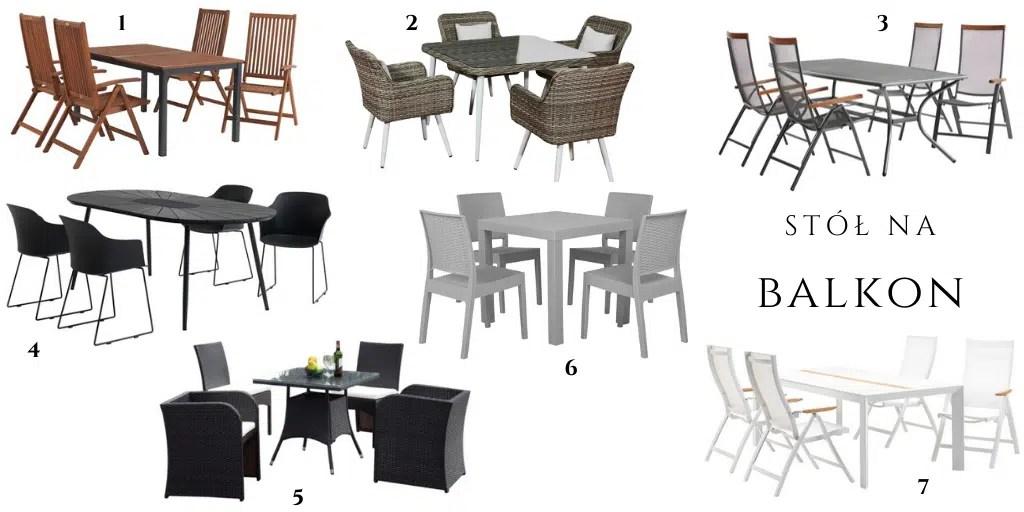 czteroosobowy stół z krzesłami na taras balkon ogród gdzie kupić wygodne meble zewnętrzne białe