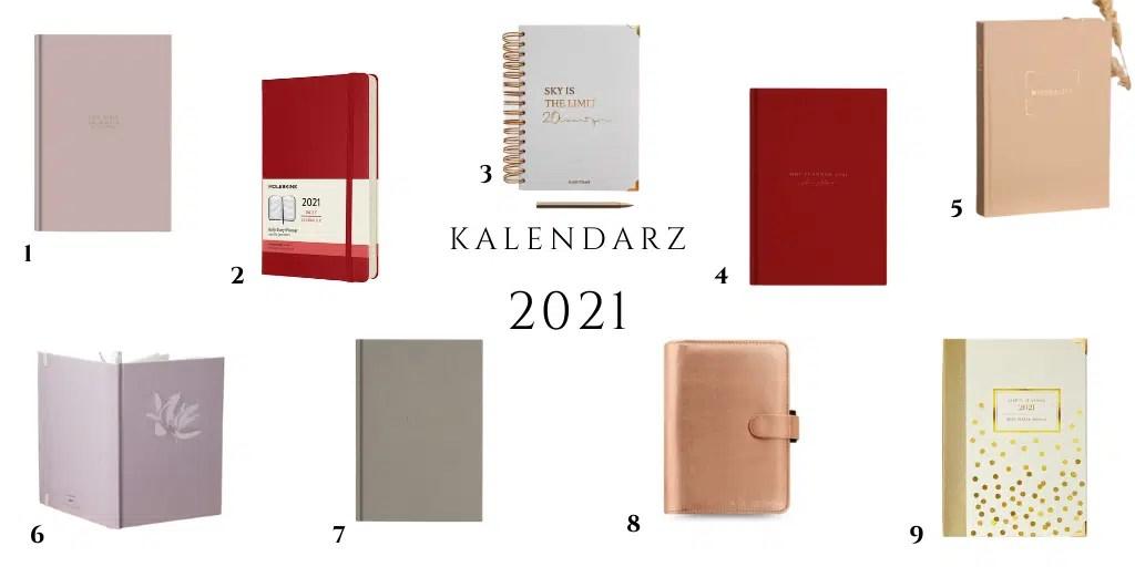 kalendarz 2021 kalendarze dla kobiet różowy nude beżowy czerwony książkowy z gumką zapinany minimalistyczny prosty