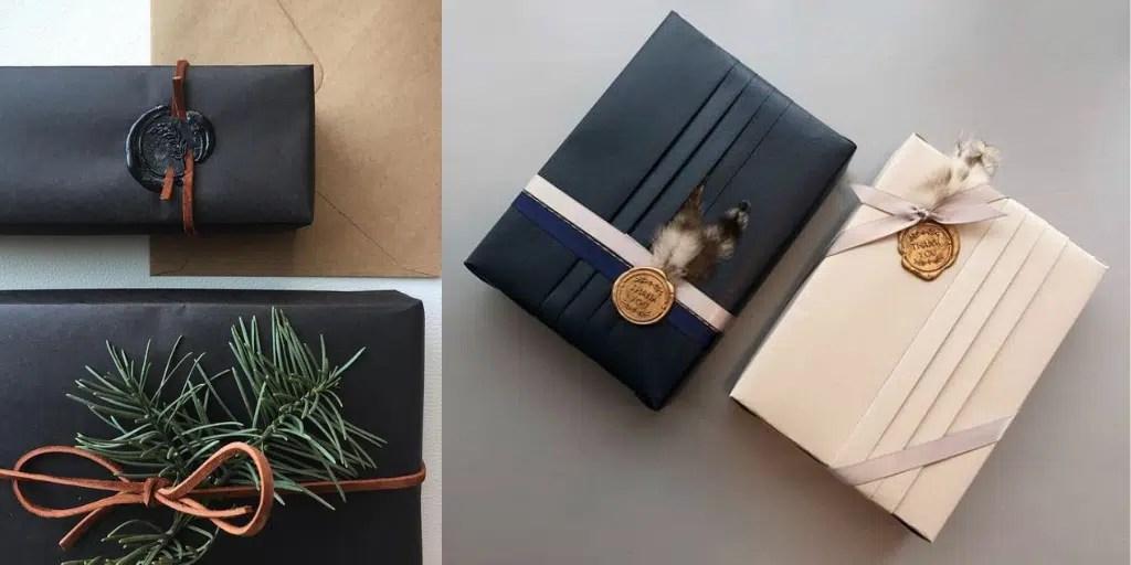 pieczęć z laku wosku na prezentach Jak zapakować eleganckie luksusowe prezenty świąteczne