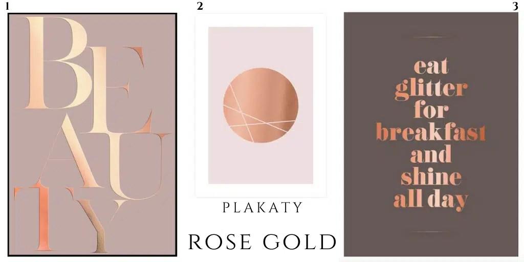 plakat w kolorze rose gold różowe złoto błyszczące napis