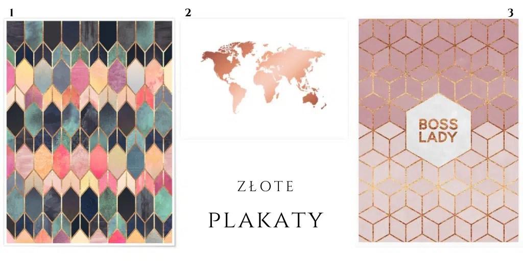 różowe plakaty ze złoceniem mapa świata