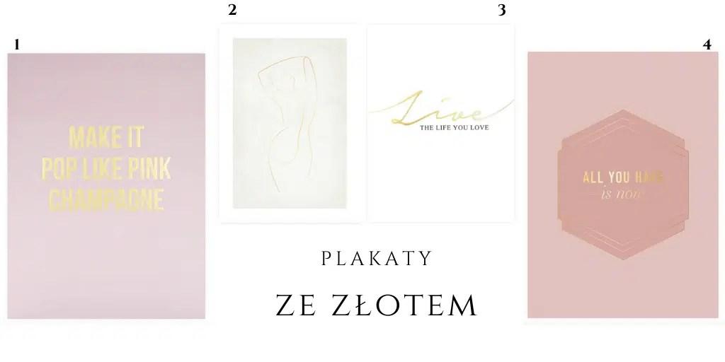 kobiecy plakat odcienie beżu biel róż złoto