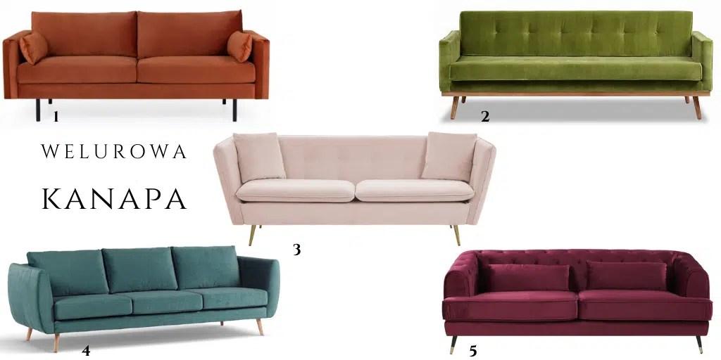 welurowa sofa w stylu retro na nóżkach rozkładana