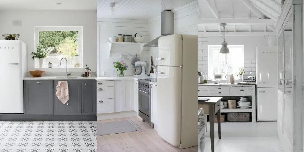 lodówka SMEG w kuchni beżowa kremowa jasna szare szafki