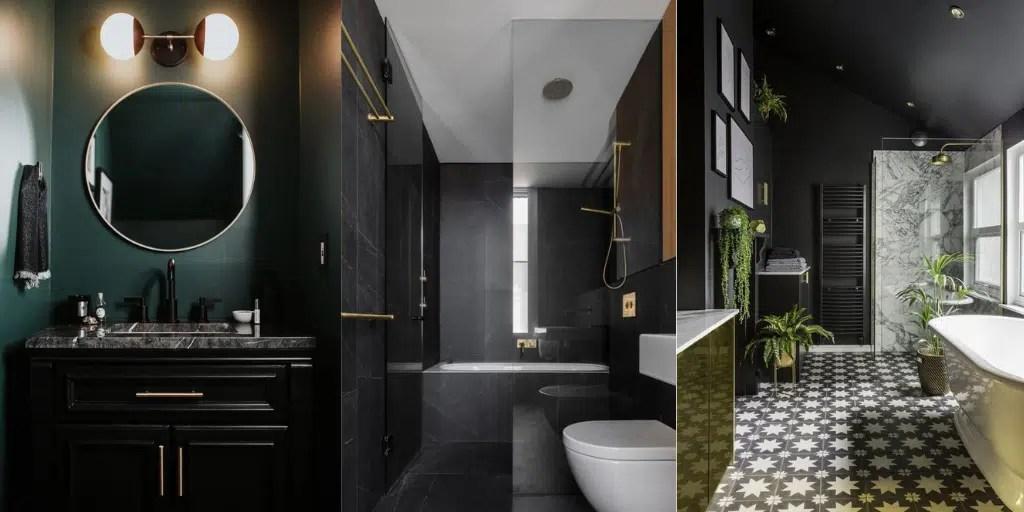 łazienka z czarnymi ścianami ciemna zieleń