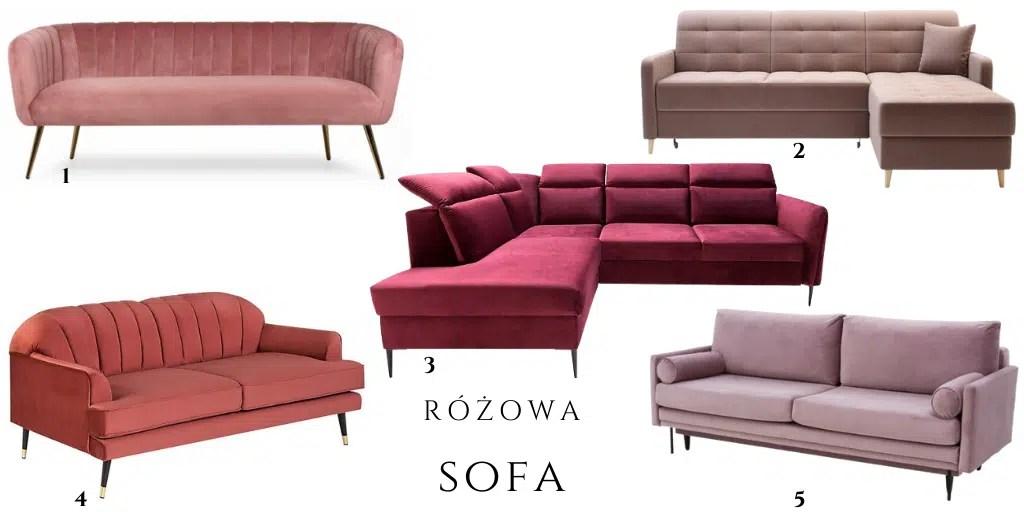 różowa sofa z weluru narożna muszelka kobieca z przeszyciami