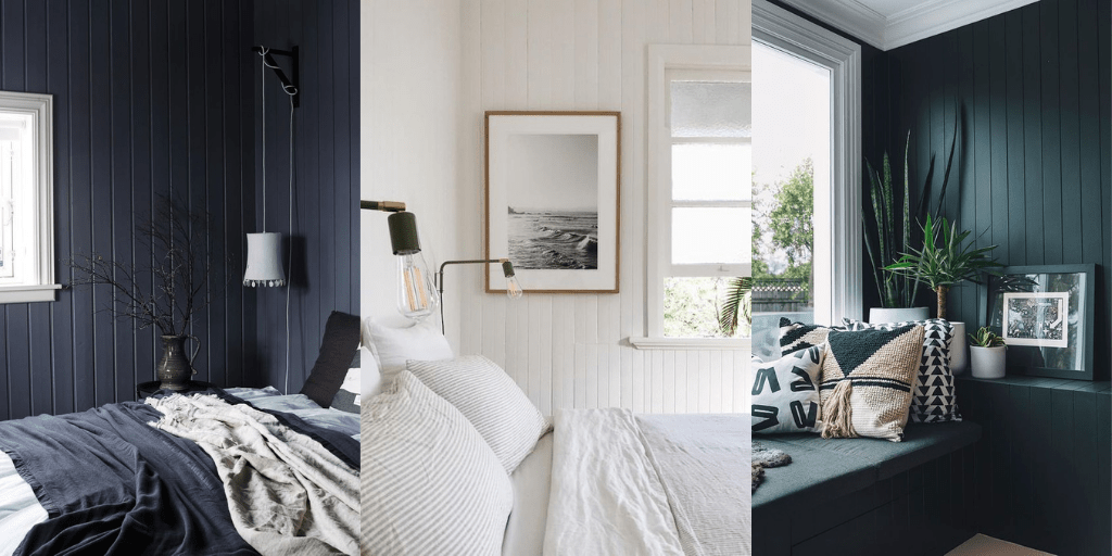 pionowe deski w sypialni na ścianach granatowe białe butelkowa zieleń