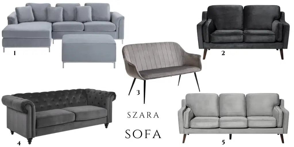 wygodna miękka sofa welurowa z poduszkami do salonu z funkcją spania