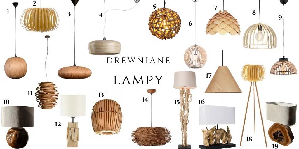 lampa z drewnianym kloszem z forniru stojąca stolikowa z drewnianym dołem