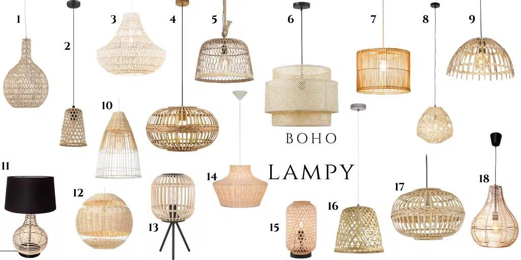 lampa do wnętrza boho naturalnego modna lampa z naturalnego rattanu wikliny bambusa