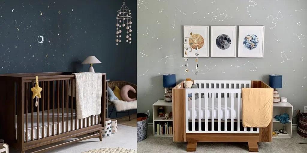pierwszy pokój dziecka z tapetą z gwiazdozbiorami