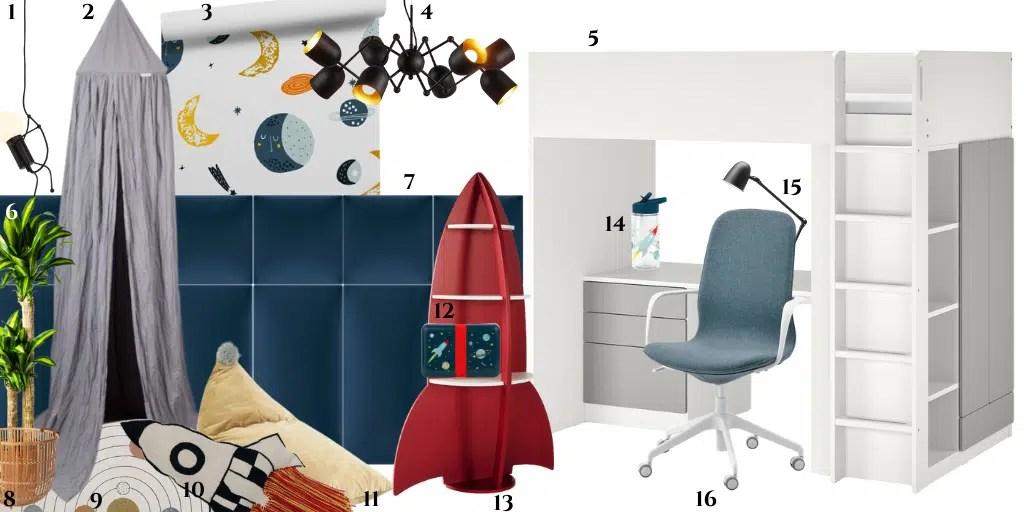 pokój dziecięcy z motywem kosmosu łóżko piętrowe ikea regał rakieta kosmiczna