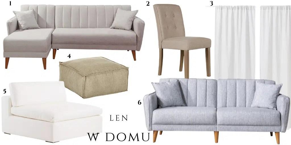 kanapa z lnianym obiciem zasłona elegancka sofa z lnianą tapicerką