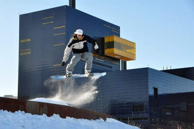Snowboarding near the Guthrie Theatre.