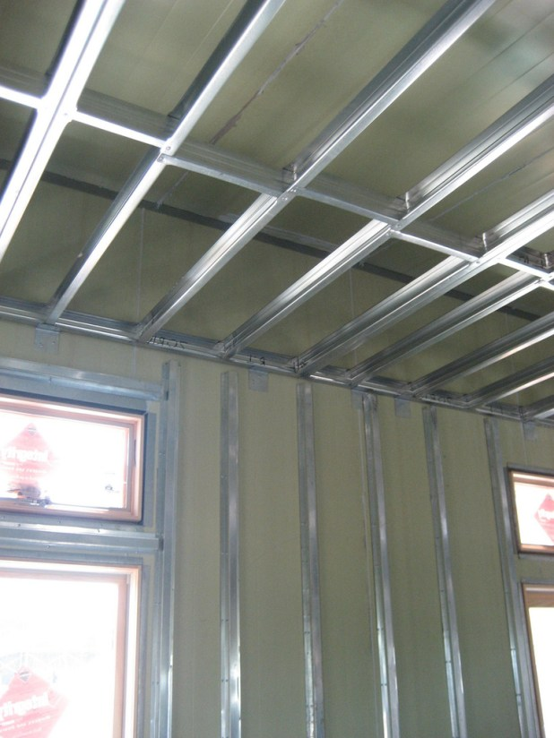 Metal stud framing drop ceiling for Exterior stud wall construction