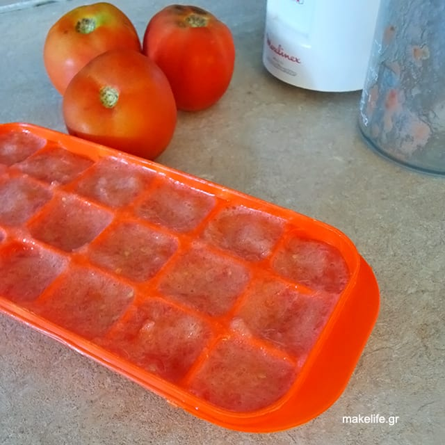 Ντομάτα Παγάκια Φύλαξη Κατάψυξη