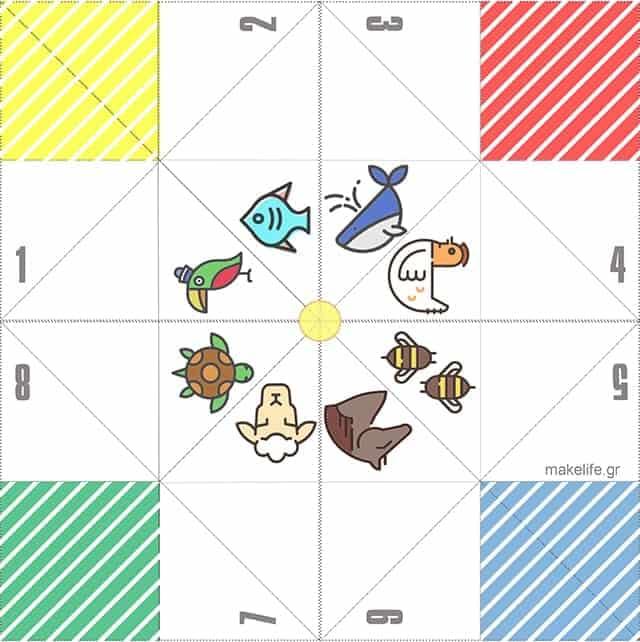 Fortune Teller with Animals - Χάρτινη Αλατιέρα. Ένα παιχνίδι Origami από τα παλιά