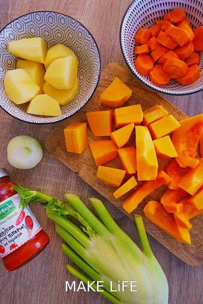 VELVET SOUP INGREDIENTS - Κολοκυθόσουπα βελουτέ. Μια εύκολη και νόστιμη σουπίτσα