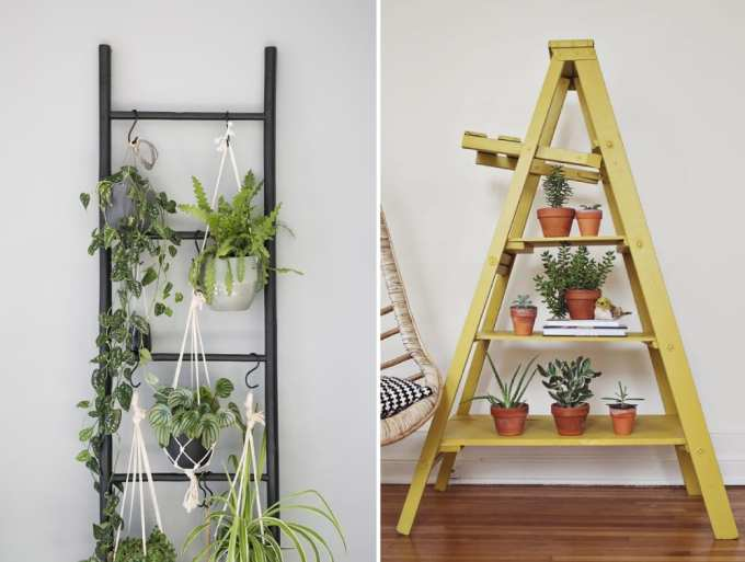 ladder decoration 1 - Πως μπορείς να χρησιμοποιήσεις μια σκάλα στη διακόσμηση σπιτιού