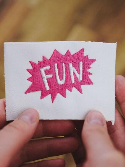 Stickdatei Sprechblase Fun (Anwendungsbeispiel)