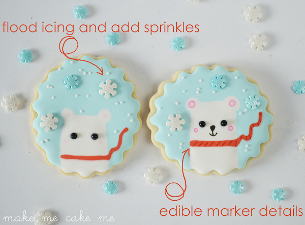 Winter Polar Bear Snowflake Cookies 3