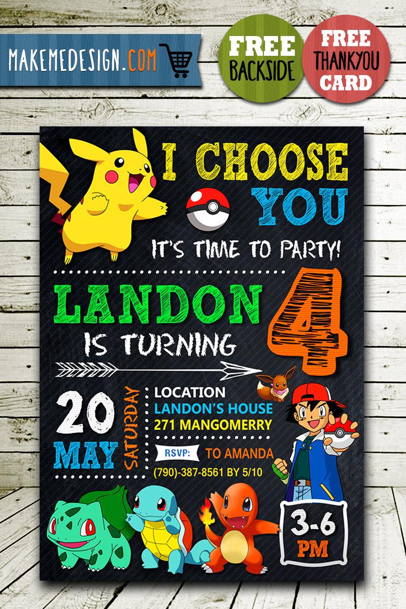 pokemon birthday invitation digital