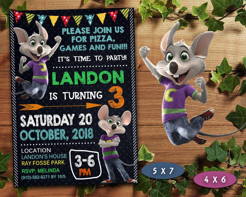 Chuck E Cheese Invitation Chuck E Cheese Invite Chuck E Cheese Birthday Party Chuck E Cheese Printable Diy Makemedesign