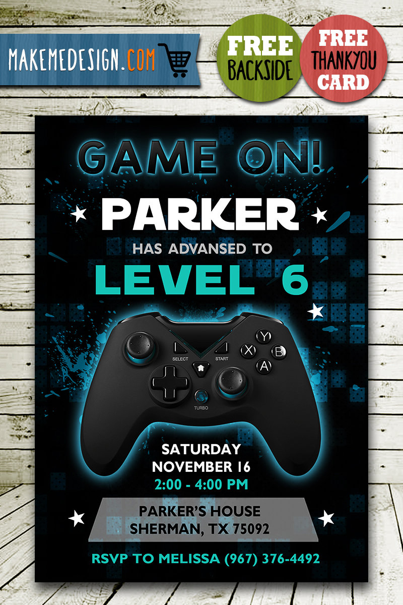 video game invitation video game invite video game birthday party video game printable video game card diy
