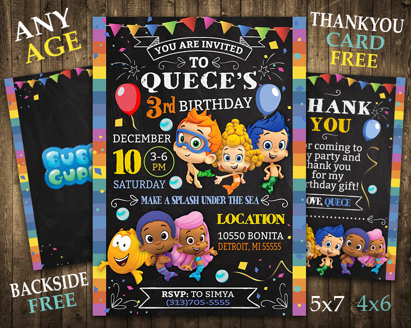 Bubble Guppies Invitation Bubble Guppies Invite Bubble Guppies Birthday Party Bubble Guppies Printable Bubble Guppies Card Diy Makemedesign