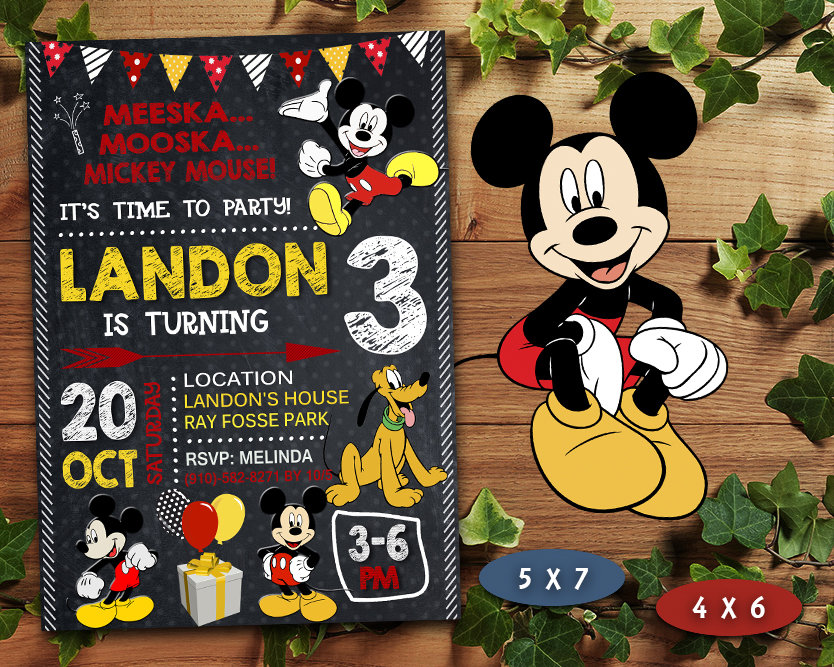 mickey mouse birthday invitation mickey mouse invite mickey mouse birthday party mickey mouse printable mickey mouse card diy
