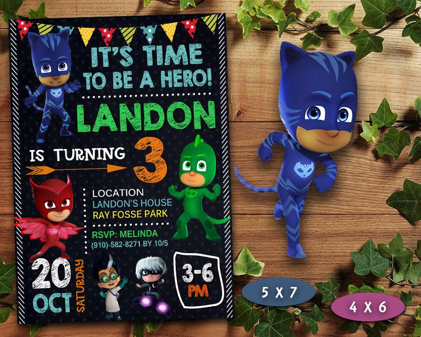 Pj Masks Birthday Invitation Pj Masks Invite Pj Masks Birthday Party Pj Masks Printable Pj Masks Card Diy Makemedesign