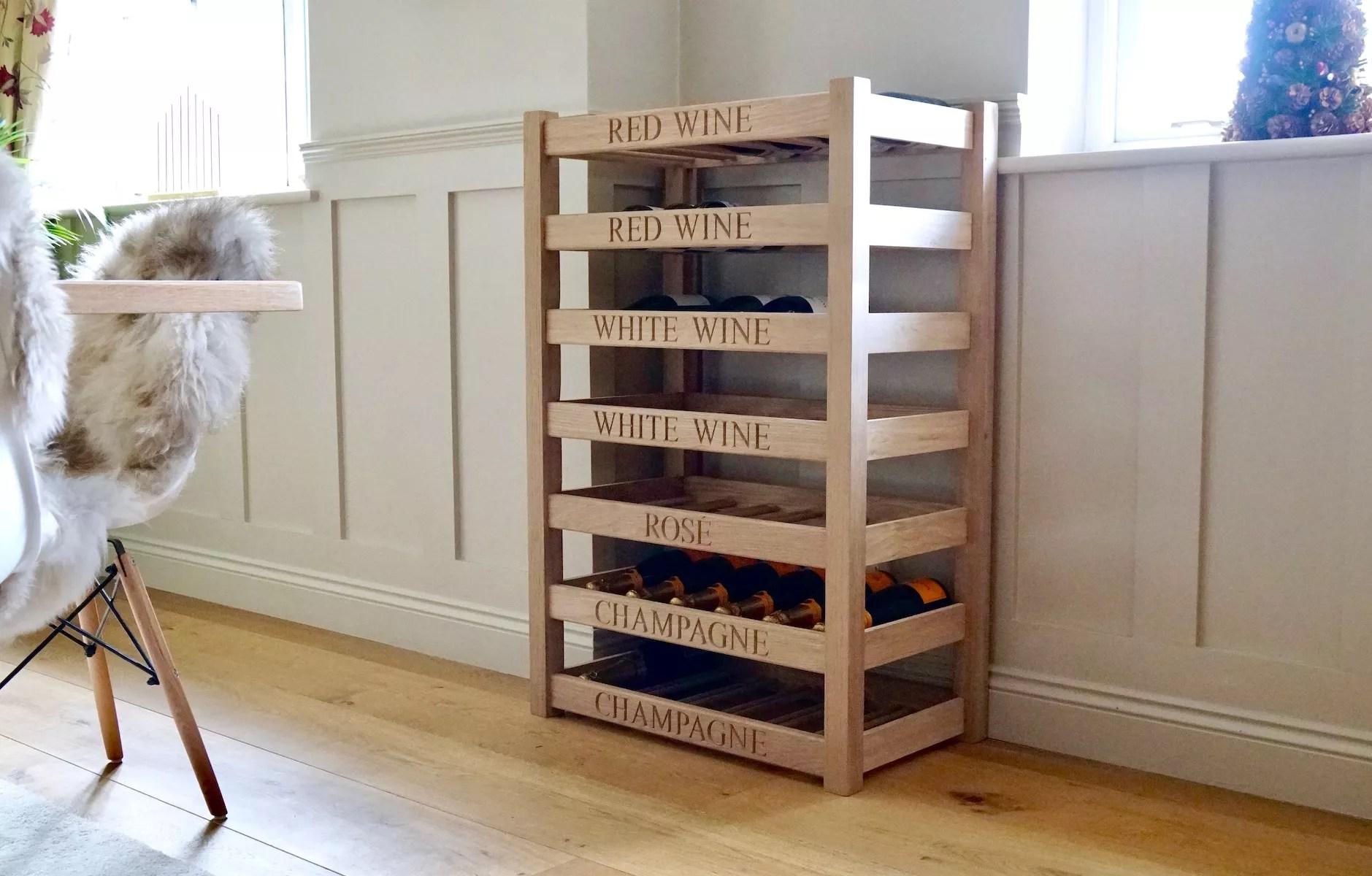 bespoke engraved oak wine rack