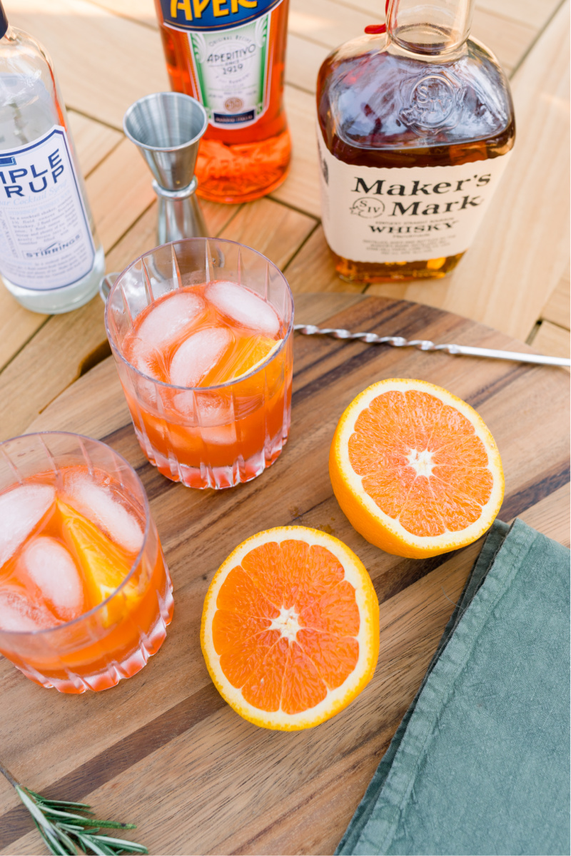 Bourbon Spritz and oranges