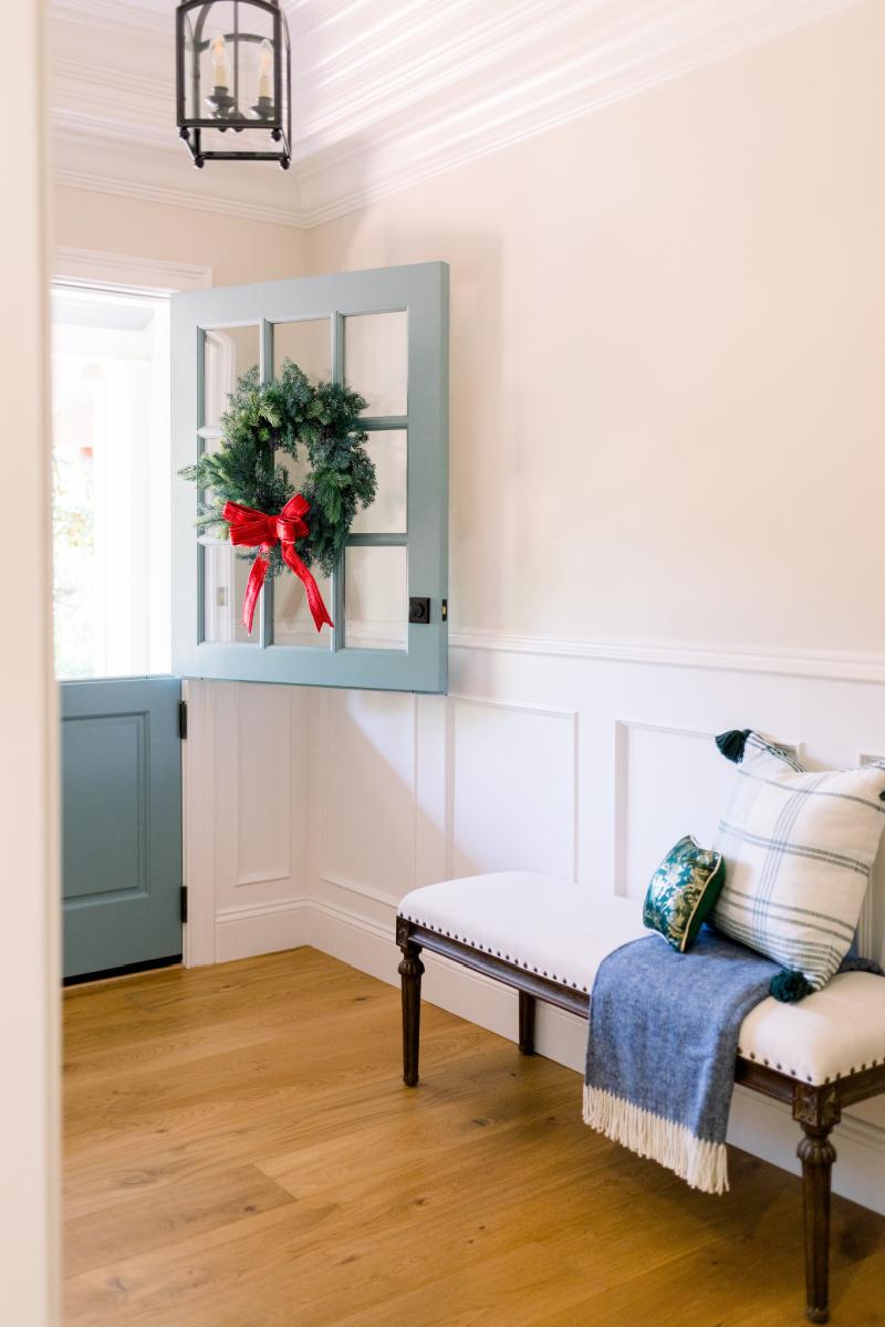 Foyer Dutch Door Open with Wreath