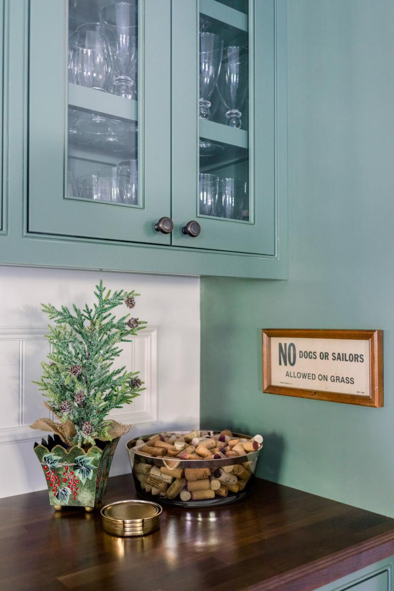 Bowl of corks and Christmas Tree