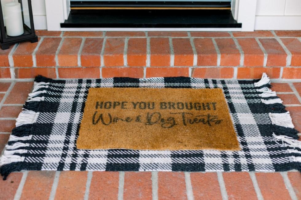 Layered door mat black and white
