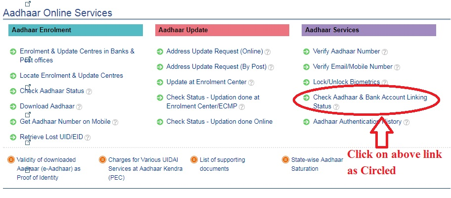check if your bank account is linked to Aadhaar Step 1
