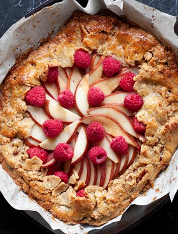 Paleo Pear and Raspberry Tart