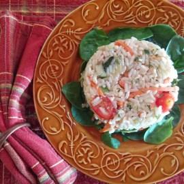 Grilled Vegetable Leftover Rice Salad