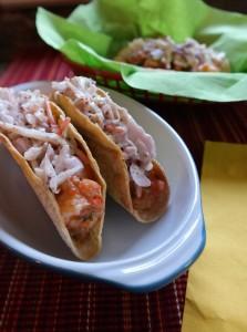 Roasted Tomatillo Salsa Shrimp Tacos