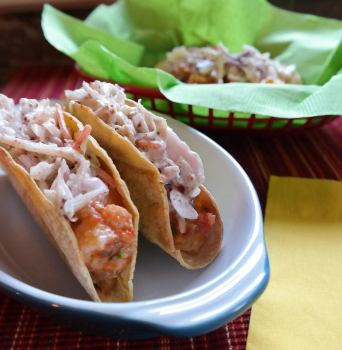 Roasted Tomatillo Salsa Shrimp Tacos with Leftover Cole Slaw