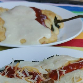 Baked Open Faced Ham & Cheese Chiles Rellenos