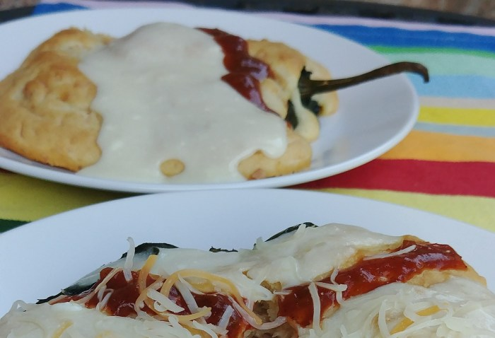 Baked Open Faced Ham and Cheese Chiles Rellenos