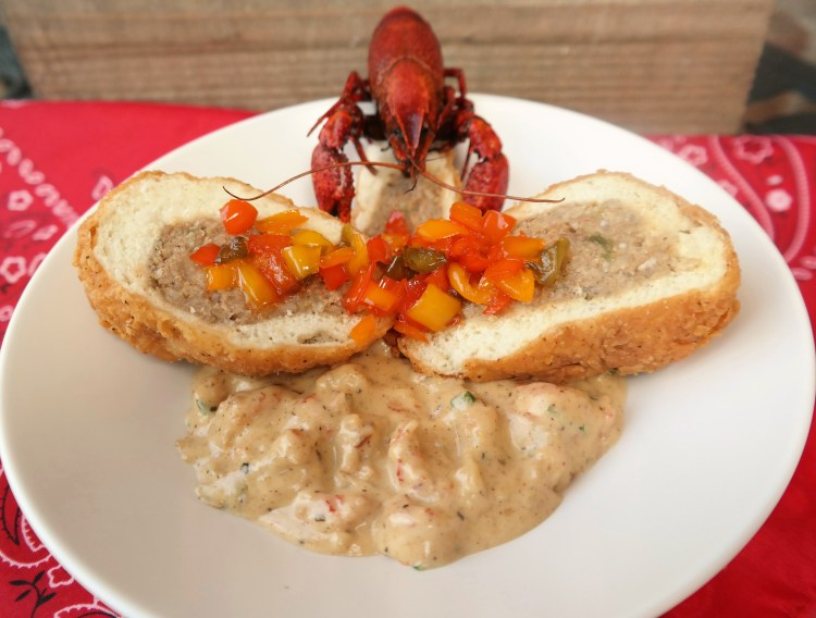 """""""Pig in a Cloud"""" Stuffed Sausage Bread with Crawfish Buttercream Sauce & 5 Pepper Jelly"""