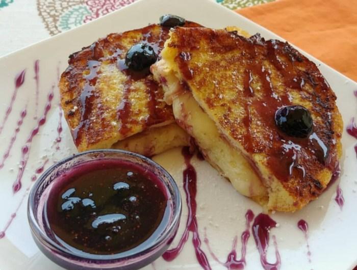 Blueberry Caramel Stuffed French Toast