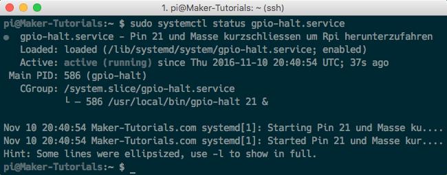 Raspberry Pi Jessi Autostart Shutdown Script Herunterfahren GPIO Pin