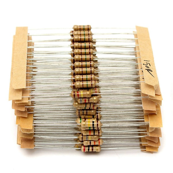 1000pcs - 50 Values 1/4w 2.2Ω~2.2MΩ Carbon Film Resistor Kit with Storage Box