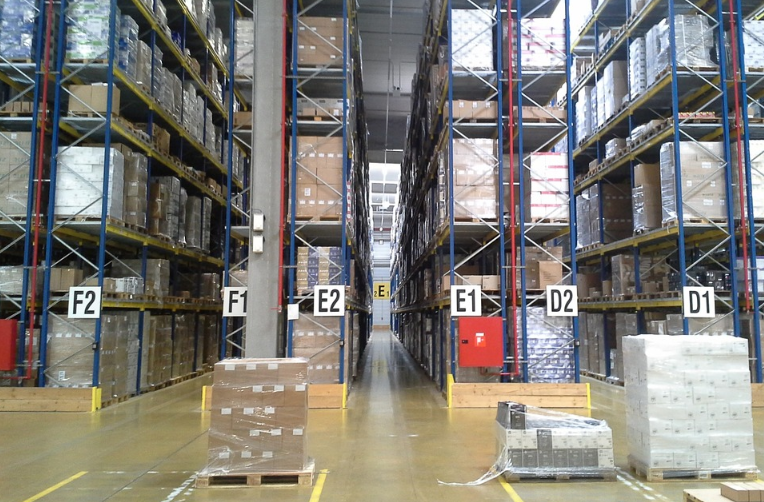 stacked goods in the warehouse