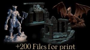 Vikings, Dwarvens and Ruins Printable Miniatures and Terrain